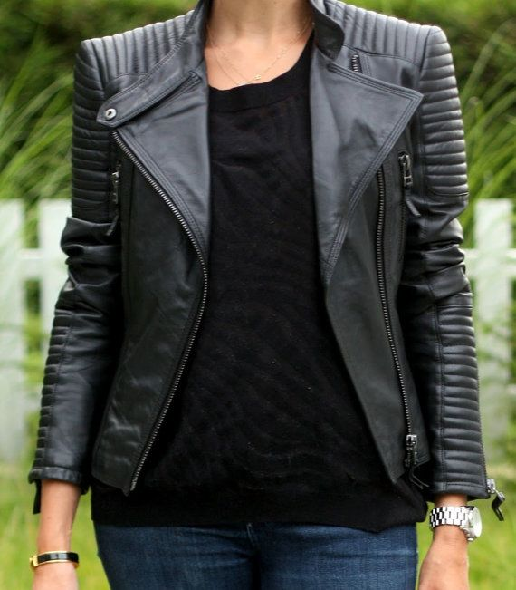 Designer Black Biker Leather Jacket for Women, Handmade Genuine Leather Jacket, Can be Customized In Any Size. on Etsy, $161.13 AUD