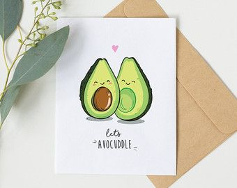 You Complete Me Cute Avocado Greeting Card By Beccykittydesigns Birthday Card Drawing Cards