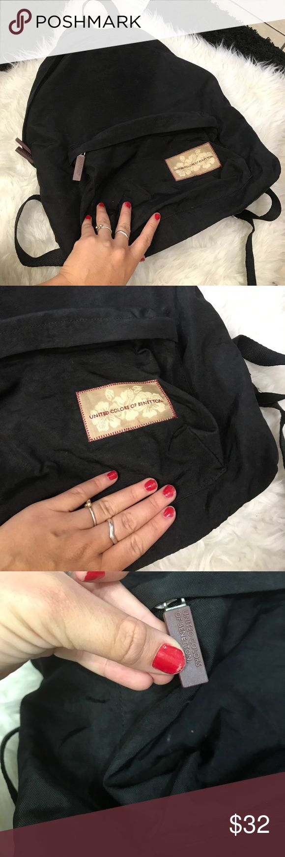 UNITED COLORS BENETTON FULL SIZED BLACK BACKPACK United colors of Benetton backpack United Colors Of Benetton Bags