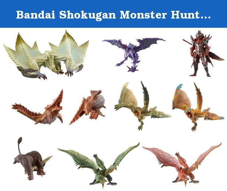 """Bandai Shokugan Monster Hunter World Collection """"Monster Hunter"""" Action Figure, Set of 10. An all new Monster Hunter figure series has arrived and it's sized up to 120% of the previous Monster Hunter figure series!."""