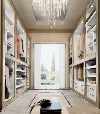 Bleached wood, glass, mirrors, leather and stylish lighting fixture, modern walk in closet designs