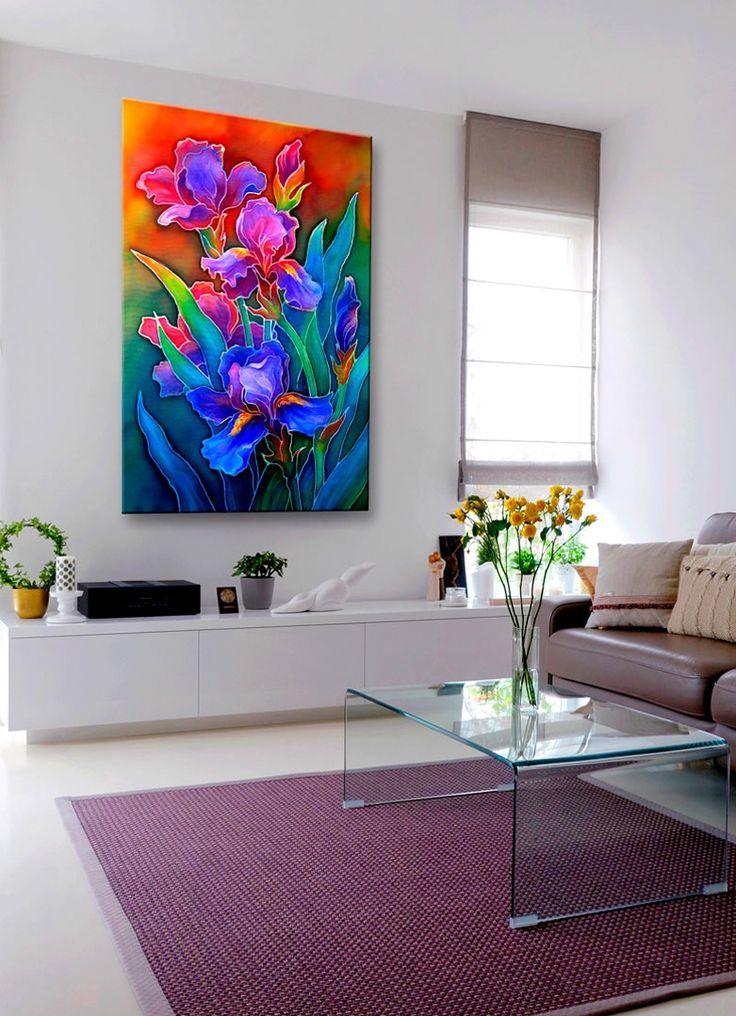 Jako obraz do salonu polecamy dekorację z motywem tętniących kolorem tęczowych irysów. Obraz / wydruk na płótnie dostępny jest w wielu rozmiarach – z łatwością dopasujesz go do swojego wnętrza!
