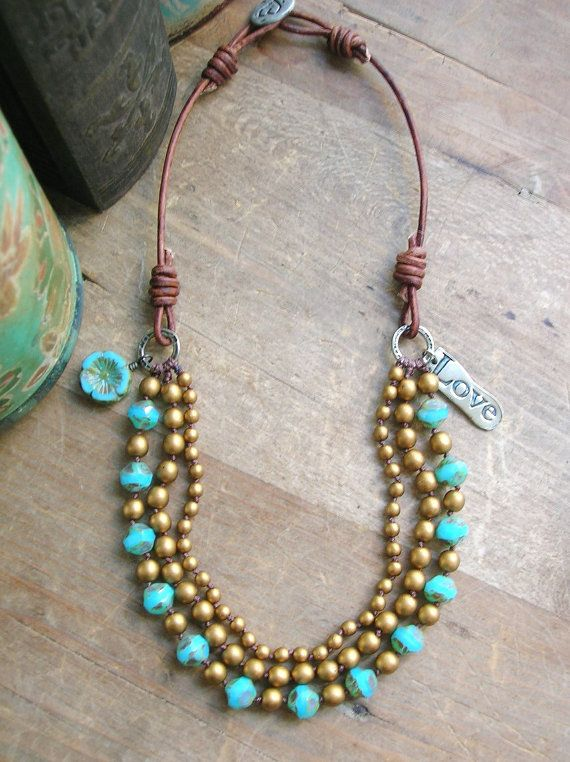 Boho statement necklace - Bloomin' Love - Bohemian jewelry, leather, knotted multi strand, opal blue, antique gold, rustic, artisan bronze - by 3DivasStudio via etsy