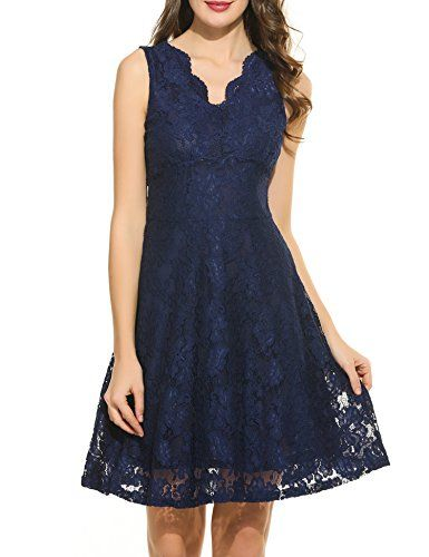 ACEVOG Cocktail Dress Womens Sleeveless Lace Dresses for Special Occasions  Navy Blue M *** More info could be found at the image url.
