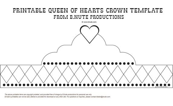 free printable queen of hearts crown template party art activity diy craft free. Black Bedroom Furniture Sets. Home Design Ideas