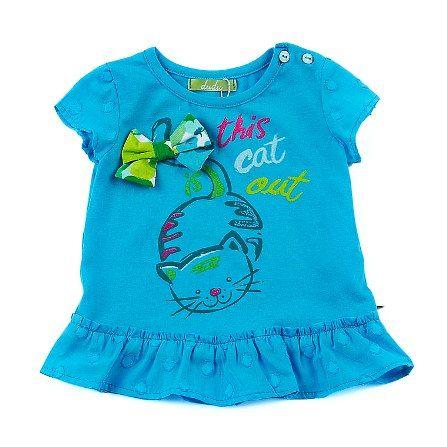 Camiseta niña de verano en azul turquesa con aplíque de lazo - Blusas y Camisetas Exteriores para Niñas desde 2 hasta 14 Años - Mundo Kiriko