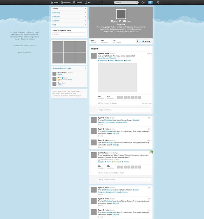 Twitter website UI PSD Freebies Pinterest Twitter website - free profile templates