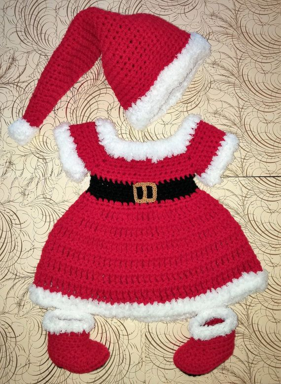 c613c6a854b Newborn Christmas Dress with hat and boots Crochet Christmas. Find this Pin  and more on Babies ...