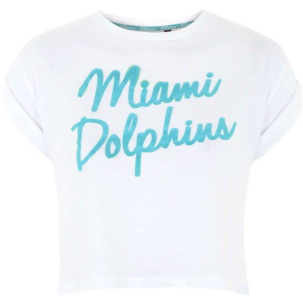 TOPSHOP Miami Dolphins Flocked Crop Tee by Tee & Cake ($40) ❤ liked on Polyvore featuring tops, t-shirts, shirts, white, dolphin t shirt, crop t shirt, white crop t shirt, white crop tee y print tees
