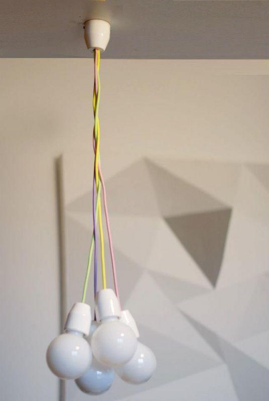 4 ágú tilka  kerámia minimál lámpa textilkábellel