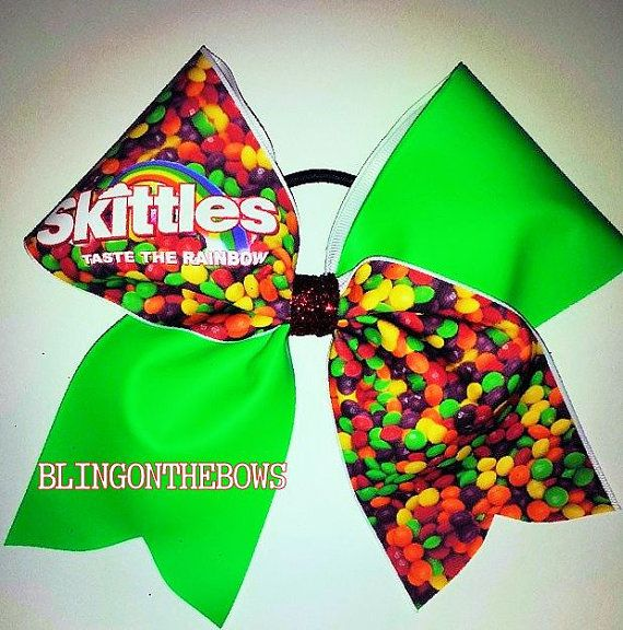 Taste the rainbow CHEER bow by blingonthebowz on Etsy, $15.00