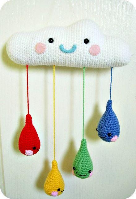 #crochet rainy Cloud mobile