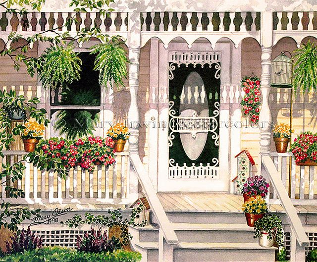 Grammies Porch by Mary Irwin Watercolors