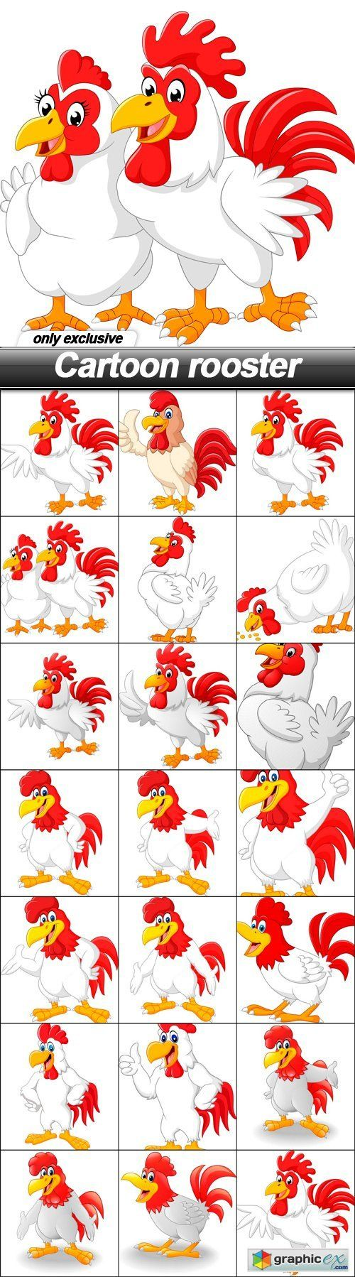 Cartoon rooster - 20 EPS