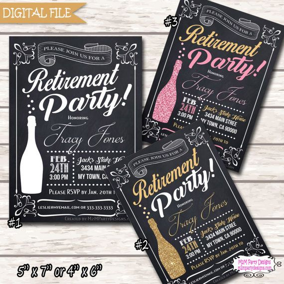 41 best black and white party ideas images on pinterest wedding retirement invitation retirement party invitation retirement celebration chalkboard retired men or women printable digital diy solutioingenieria Choice Image