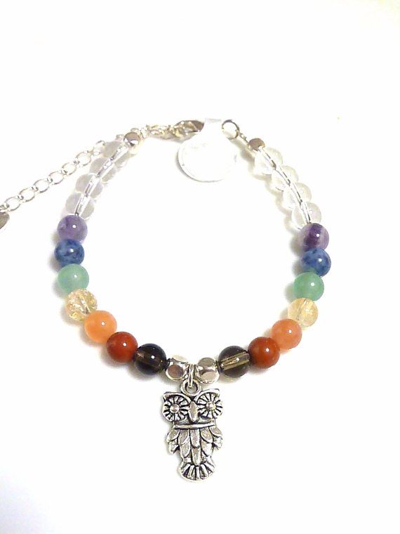 Chakra Healing Bracelet with an owl charm by MystiqueCrystal, $17.00