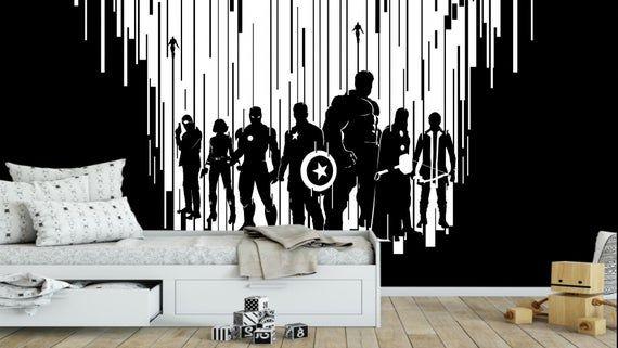 Marvel Avengers Wallpaper Kids Room Decor Peel And Stick Wall Etsy Kids Room Wallpaper Kid Room Decor Nursery Decor Boy