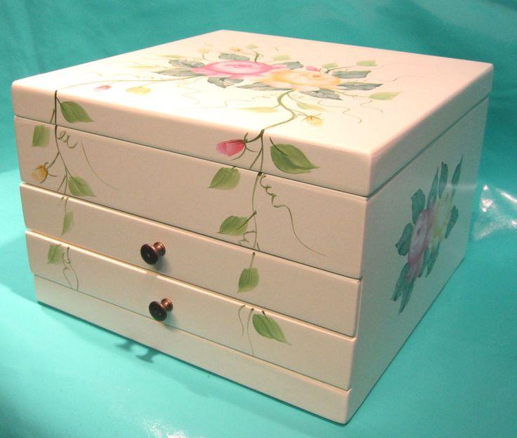 Kassette Spiegel 3 Ebenen 2 Schubladen Blumen 27,5 x 27,5 x 16cm Schmuck Münzen