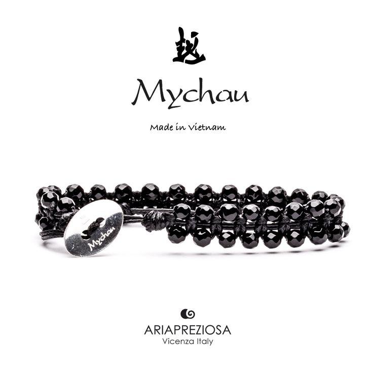 Mychau Double - Bracciale Vietnam originale realizzato con doppia fila di pietre naturali Onice su base col. Nero