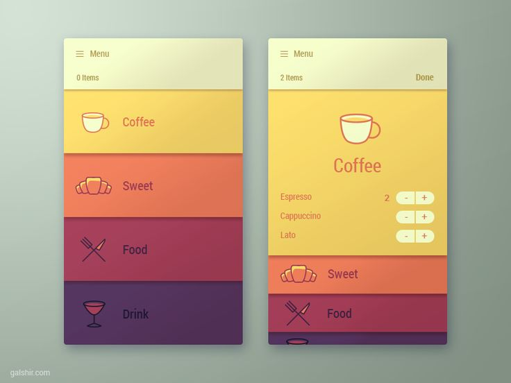 Menu App Interface by Gal Shir