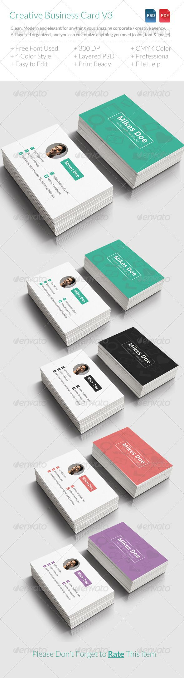 Creative Business Card V3 Creative Business Card V3 is simple, clean, flat style and elegant for anything creative agency / corporate ,creative people and freelancer. All layers can be changed, you can replace all the information on the business card in easy way with just a few clicks. Download at http://graphicriver.net/item/creative-business-card-v3/7480692
