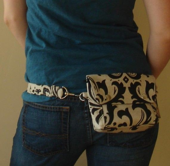 Convertible Black Linen Hip Pouch / Purse. Like the hardware, not the print.