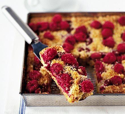 Raspberry & almond traybake recipe - Recipes - BBC Good Food