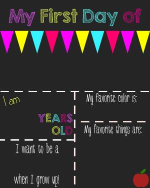 First Day of School Printable Chalkboard Sign More