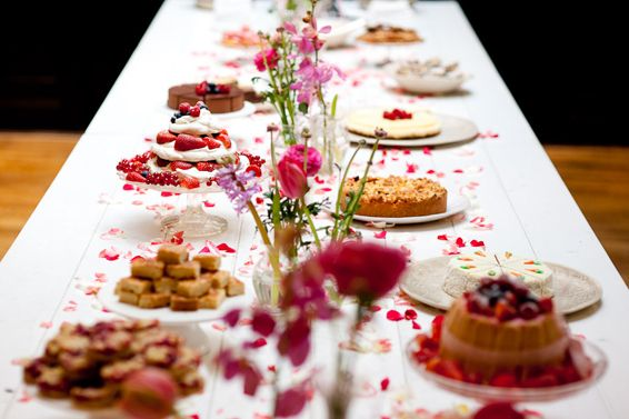 """The so called """"taartentafel"""" :) A table full of delicious cakes and other things yummy to share on your wedding. Great alternative for a traditional wedding cake."""
