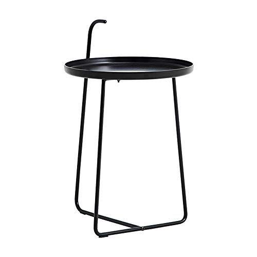 Xbbz Simple Modern Metal Wrought Iron Side Table Black Matte