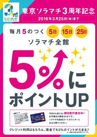 <東京ソラマチ3周年記念>毎月5のつく日は東武カードのポイントが5%にアップ! - 312の多彩な店舗が織りなす、新しい下町「東京ソラマチ」。東京スカイツリーとともに都心と東武沿線、日本と世界とを結ぶゲートシティへ。