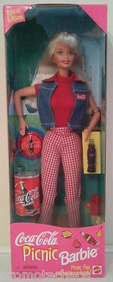 COCA-COLA PICNIC BARBIE Special Edition Doll Mattel bottles cans Vintage COKE nr: Barbie 1997, Editing Dolls, Cocacola Picnics, Dolls Mattel, Dolls Collection, Barbie Dolls, Coca Cola Picnics, 1997 Coca Cola, Picnics Barbie