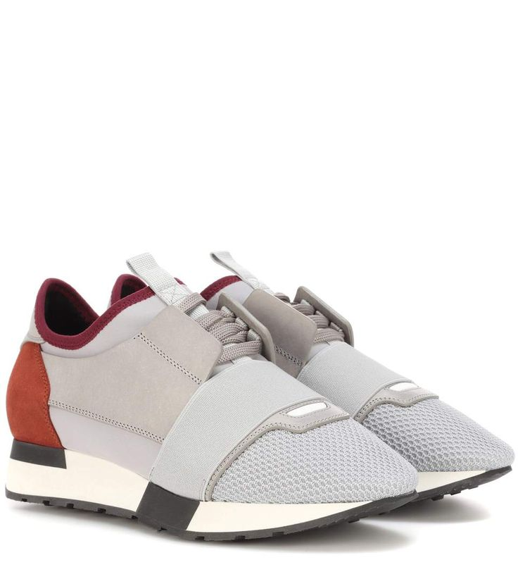 Grey and red leather-trimmed sneakers