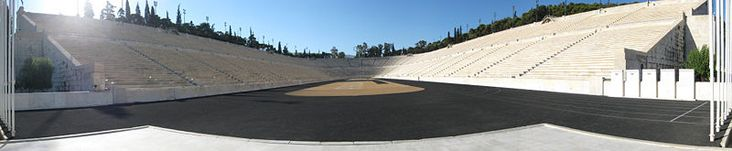"The Panathenaic Stadium or Panathinaiko (Greek: Παναθηναϊκό στάδιο, also known as the Kallimarmaro (Καλλιμάρμαρο, meaning the ""beautifully marbled""), is an athletic stadium in Athens that hosted the first modern Olympic Games in 1896. Reconstructed from the remains of an ancient Greek stadium, the Panathenaic is the only major stadium in the world built entirely of white marble from Mount Penteli and is one of the oldest in the world. [Here: Panorama of the Stadium]"