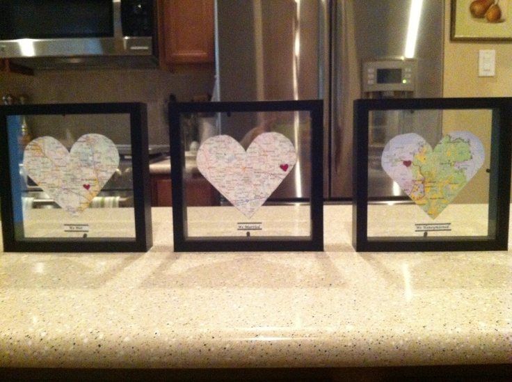 Repurposing old maps to mark where you met, marry, live, etc. cute!