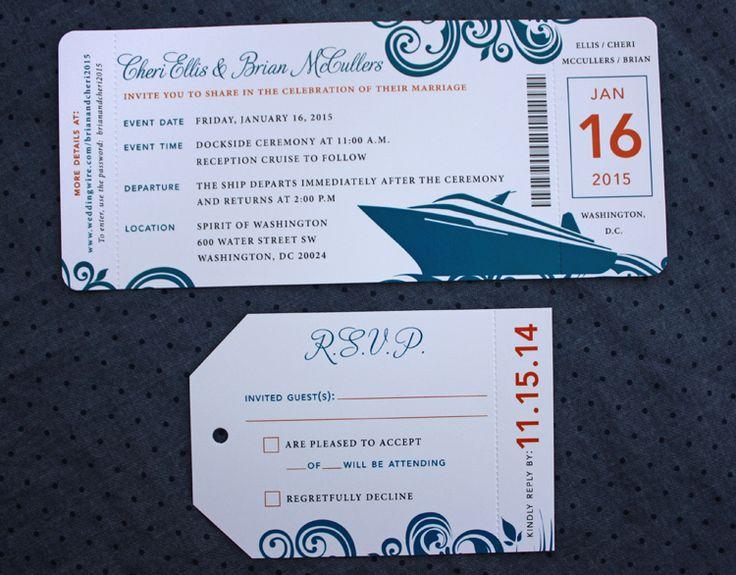 Cruise Wedding Invitations: Orange & Dark Blue Swirl & Cruise Ship Boarding Pass