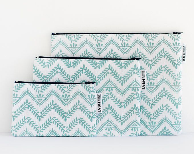 Hand Block Printed SMALL Zipper Pouch, Travel Organiser, Pencil Case, Cosmetic Bag, Purse - Eco Friendly Ink - Leaf Pattern