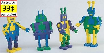 Super Foam Alien Robots Craft Kit (makes 12)