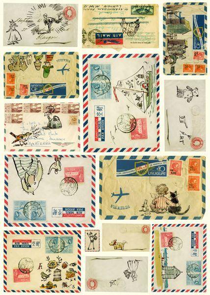 Vintage Letters Estampillas postales