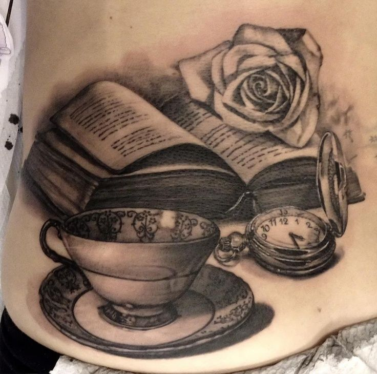 pocket watch teacup and book tattoo black grey art tattoos pinterest cup of tea. Black Bedroom Furniture Sets. Home Design Ideas