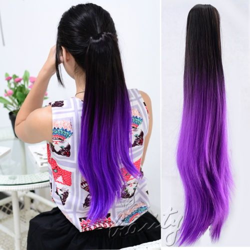 20-034-Claw-Clip-in-Gradient-Pony-tail-Ponytail-Hair-Extension-Smooth-Straight-Hair