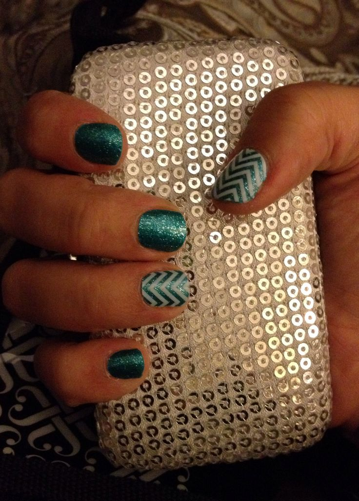 Jamberry Nails teal sparkle and white chevron
