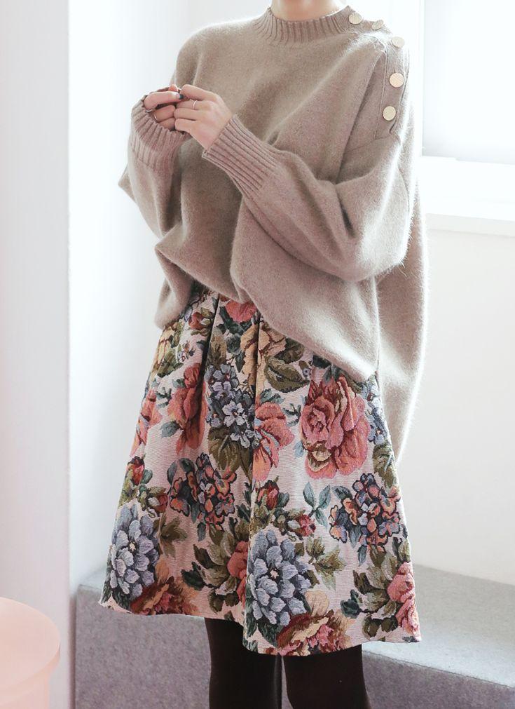ジャガードフラワーフレアスカート・全1色
