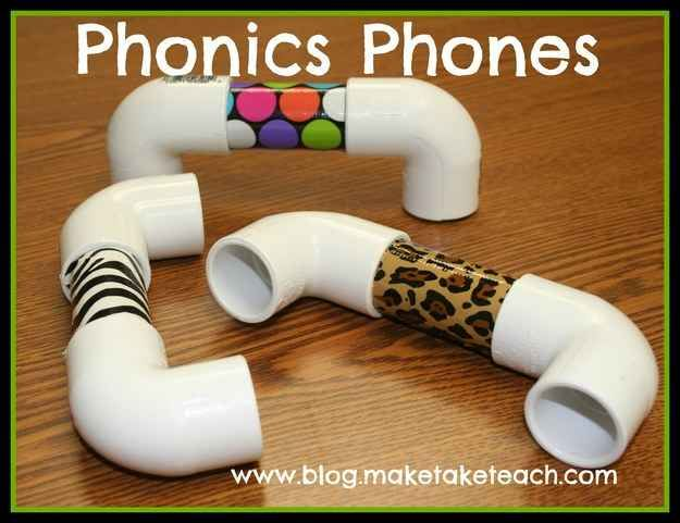 "19 Ridiculously Simple DIYs Every Elementary School Teacher Should Know - child reads into their ""phonics phone"" to learn to verbalize their own words correctly as they read a loud."
