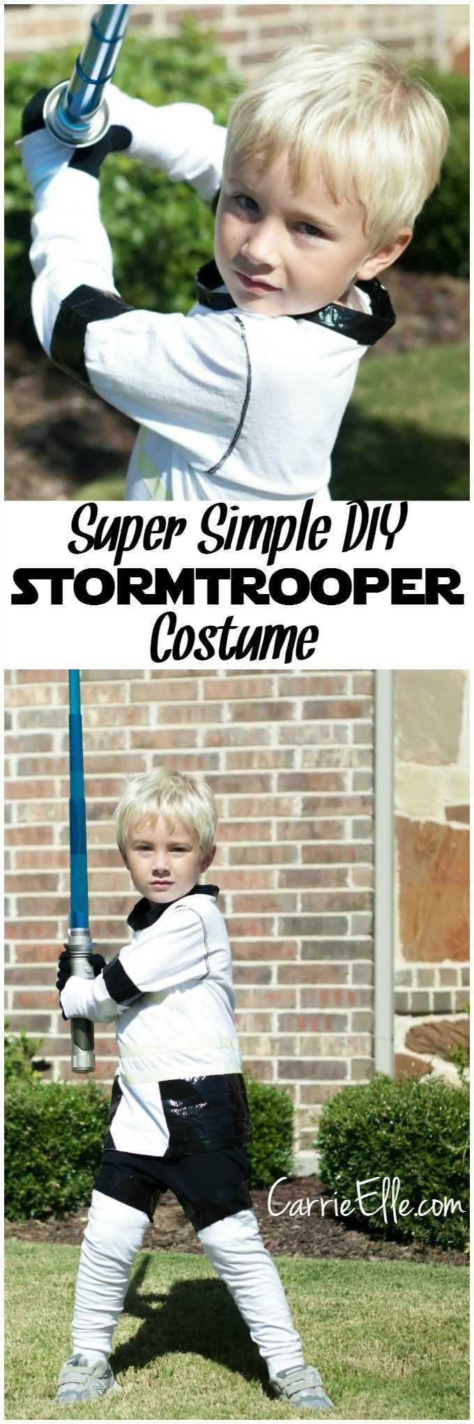 This super simple DIY Stormtrooper costume is perfect for Halloween or any Star Wars Rebels fan! NO sewing involved!