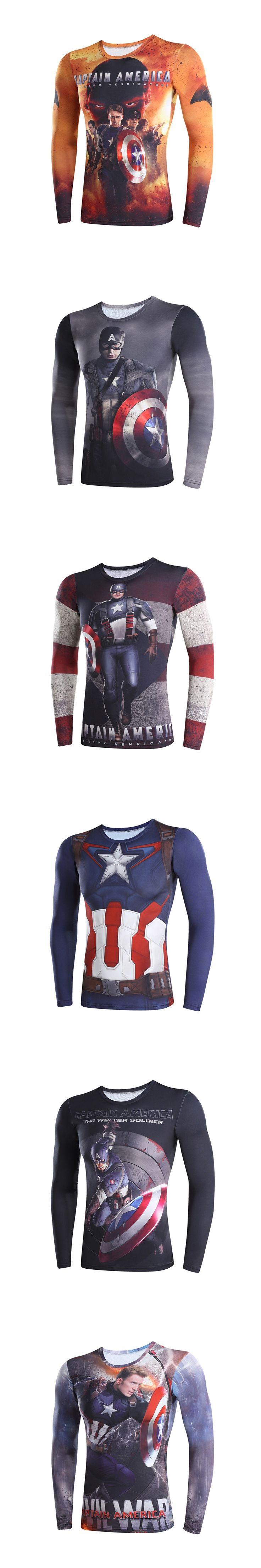 3D t-shirts digital printing compressed t-shirts men long sleeve Superman Deadpool iron Man captain America 3 model