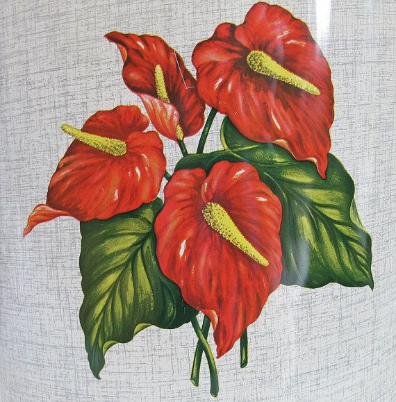 Vintage Tropical Anthurium Flower Metal by MyPlaidLunchbox on Etsy, $24.00