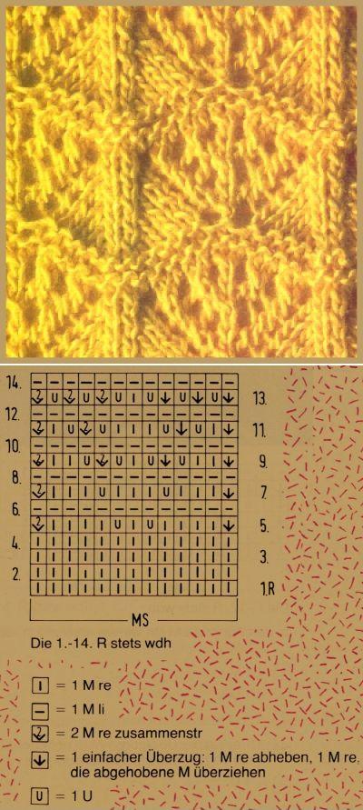 Lace knitting pattern ~ Lochstrickmuster Beispiel 13, Musterbreite: 13 M + 2 Rdm
