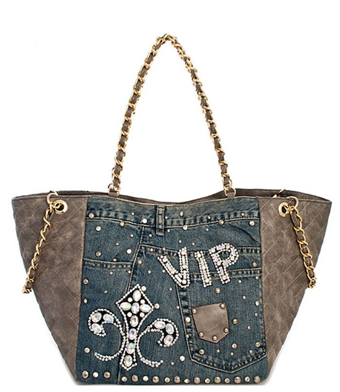 Denim Jean 2 in 1 Studded Tote Bag Light Blue - Abfabulous Fashion