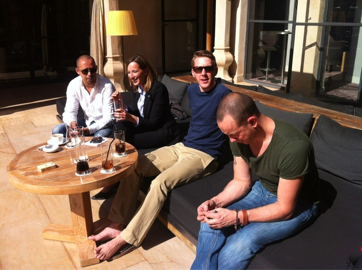 The crew relax before the TV shoot continues.
